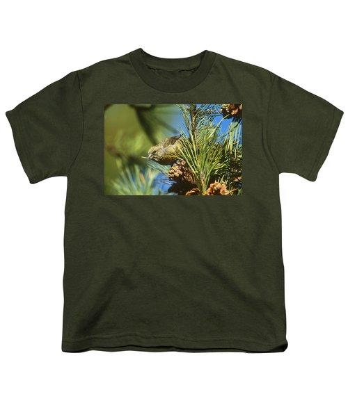 Red Crossbill Eating Cone Seeds Youth T-Shirt