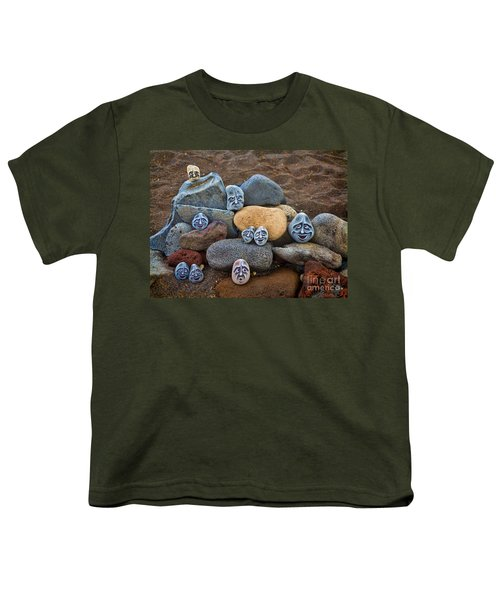 Rocky Faces In The Sand Youth T-Shirt by David Smith