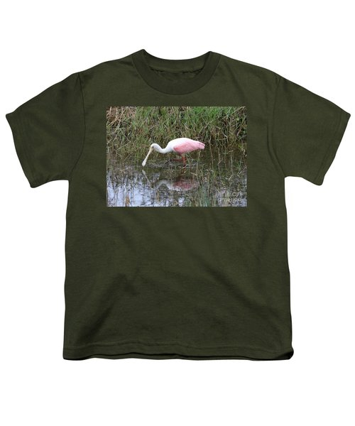 Roseate Spoonbill Reflection Youth T-Shirt by Carol Groenen