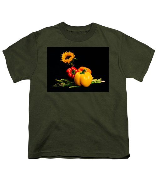 Still Life Peppers Asparagus Sunflower Youth T-Shirt