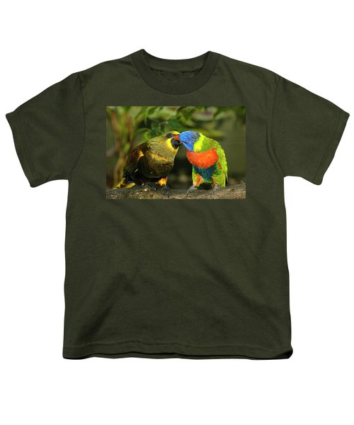 Kissing Birds Youth T-Shirt by Carolyn Marshall