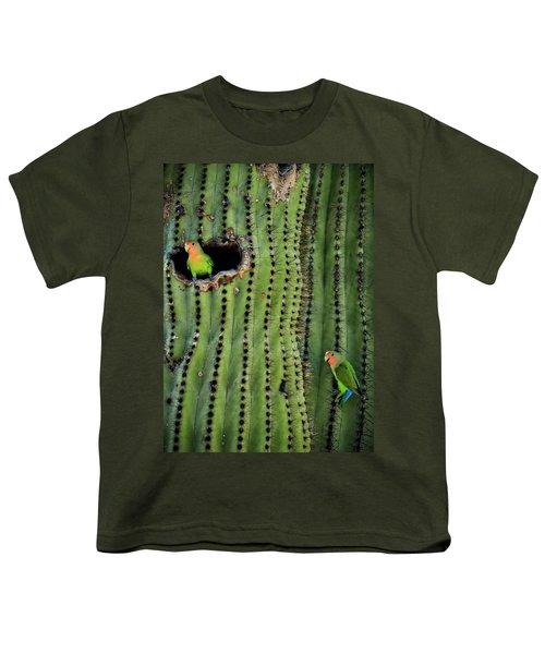 Lovebirds And The Saguaro  Youth T-Shirt by Saija  Lehtonen