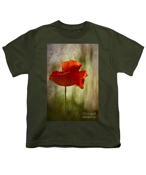 Youth T-Shirt featuring the photograph Moody Poppy. by Clare Bambers - Bambers Images