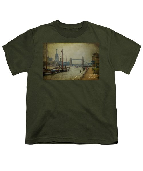 Youth T-Shirt featuring the photograph Moored Thames Barges. by Clare Bambers