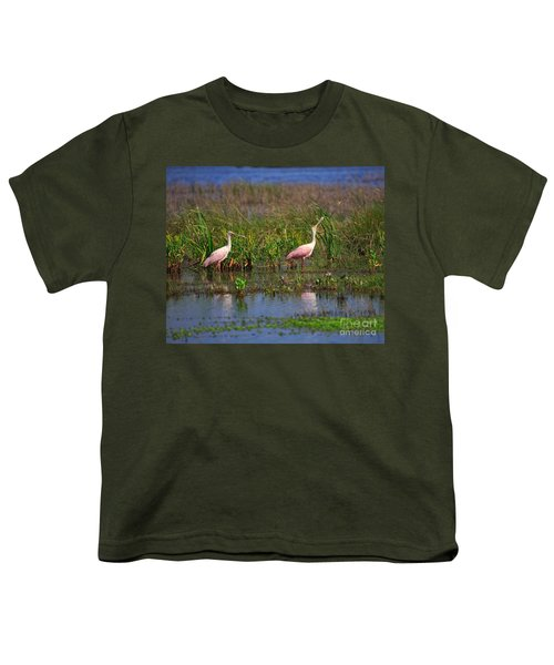 Roseate Spoonbills Youth T-Shirt by Louise Heusinkveld