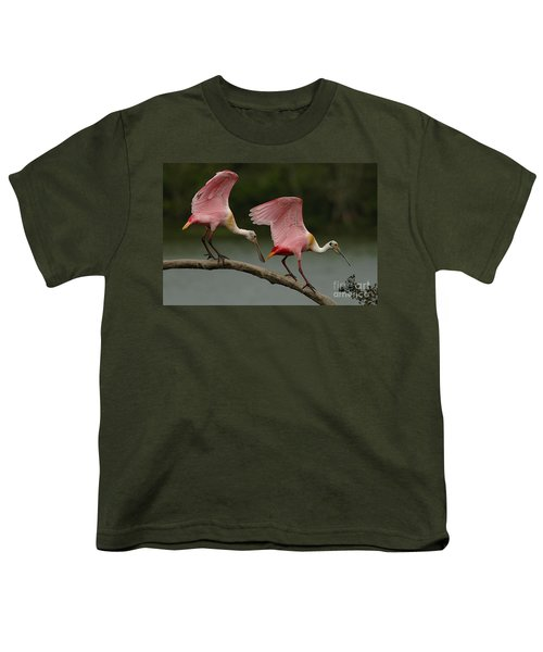 Rosiette Spoonbills Youth T-Shirt by Bob Christopher