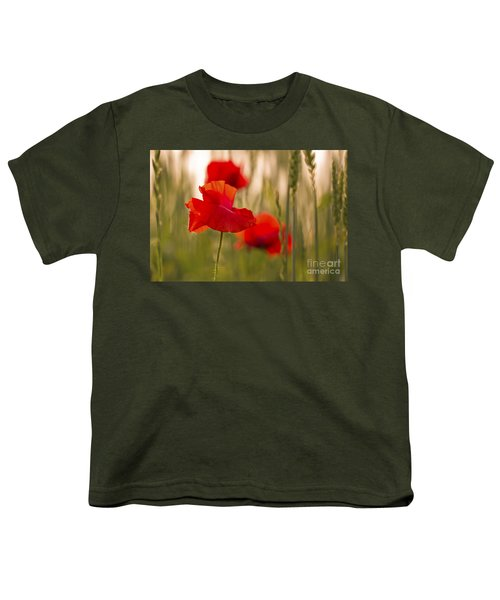 Youth T-Shirt featuring the photograph Sunset Poppies. by Clare Bambers