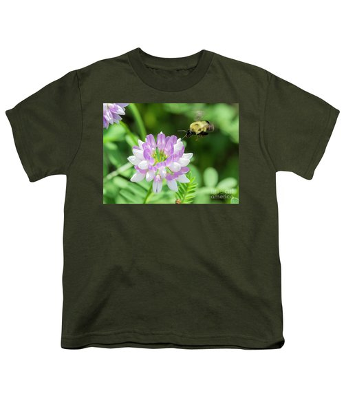 Bumble Bee Pollinating A Flower Youth T-Shirt by Ricky L Jones