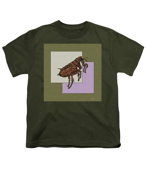 Flea On Abstract Beige Lavender And Dark Khaki Youth T-Shirt