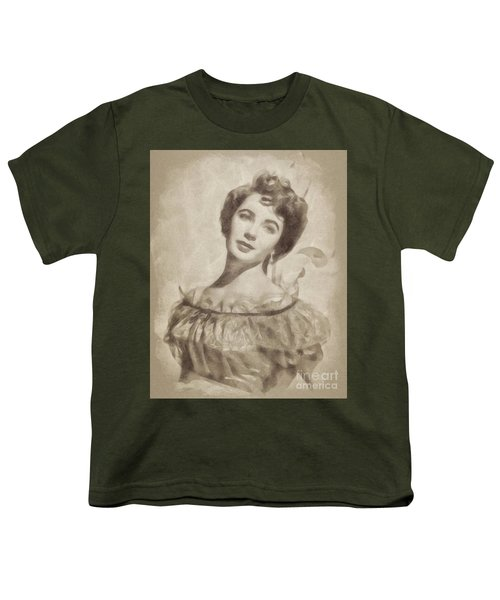 Elizabeth Taylor, Vintage Hollywood Legend By John Springfield Youth T-Shirt by John Springfield
