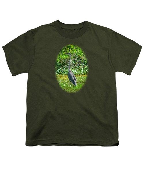 Great Blue Heron Youth T-Shirt by Deborah Good