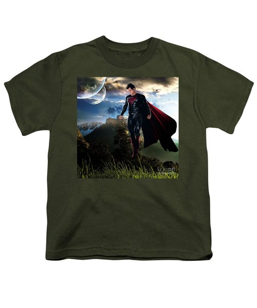 Youth T-Shirt featuring the mixed media Superman by Marvin Blaine