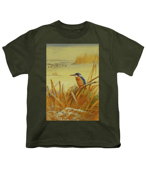 A Kingfisher Amongst Reeds In Winter Youth T-Shirt by Archibald Thorburn