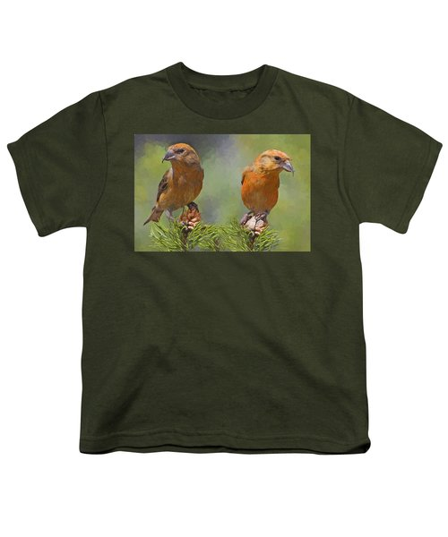 A Pair Of Male Red Crossbills - Painted Youth T-Shirt