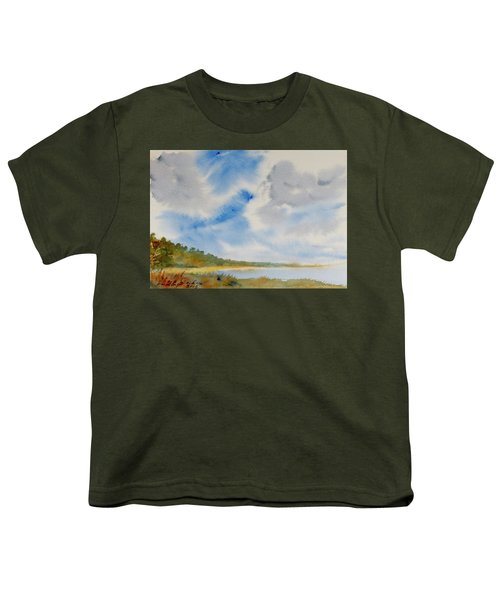 A Secluded Inlet Beneath Billowing Clouds Youth T-Shirt
