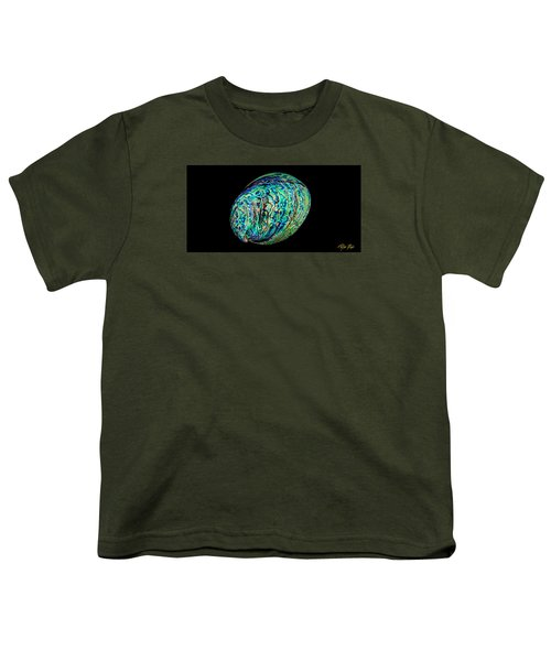 Youth T-Shirt featuring the photograph Abalone On Black by Rikk Flohr