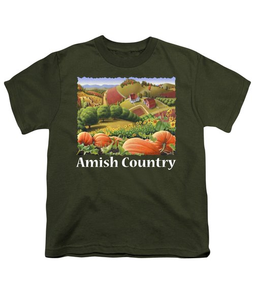 Amish Country T Shirt - Pumpkin Patch Country Farm Landscape 2 Youth T-Shirt