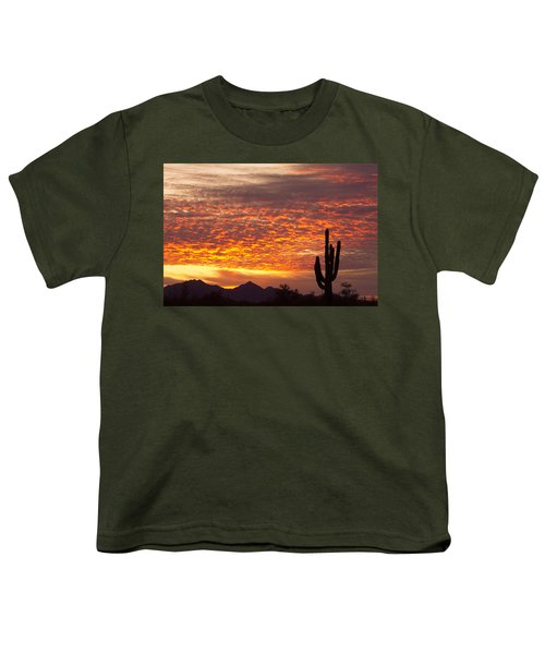 Arizona November Sunrise With Saguaro   Youth T-Shirt