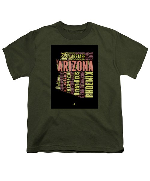 Arizona Word Cloud Map 1 Youth T-Shirt by Naxart Studio
