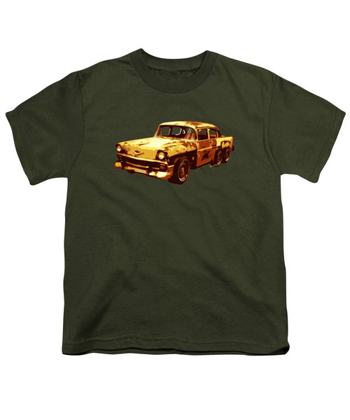 Roadrunner The Snake And The 56 Chevy Rat Rod Youth T-Shirt by Chas Sinklier