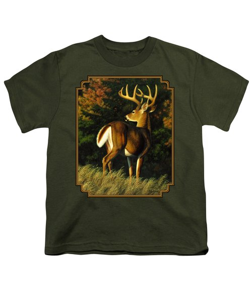 Whitetail Buck - Indecision Youth T-Shirt by Crista Forest