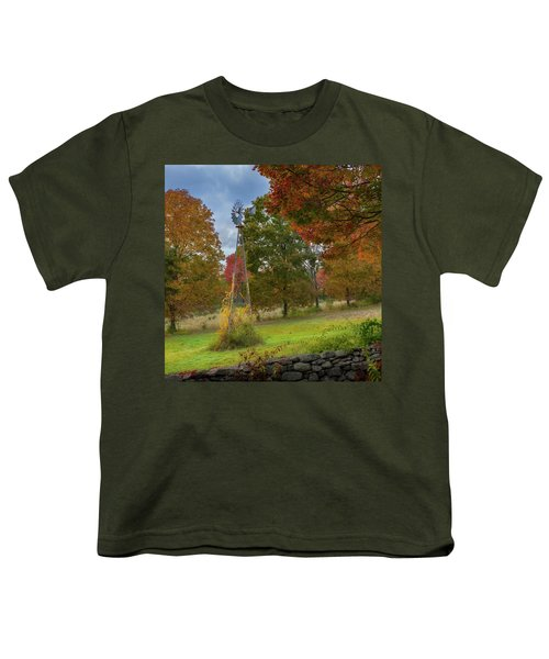 Youth T-Shirt featuring the photograph Autumn Windmill Square by Bill Wakeley