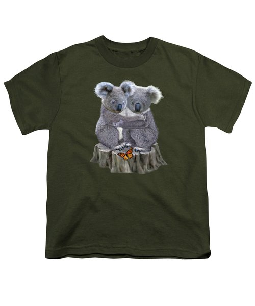 Baby Koala Huggies Youth T-Shirt by Glenn Holbrook