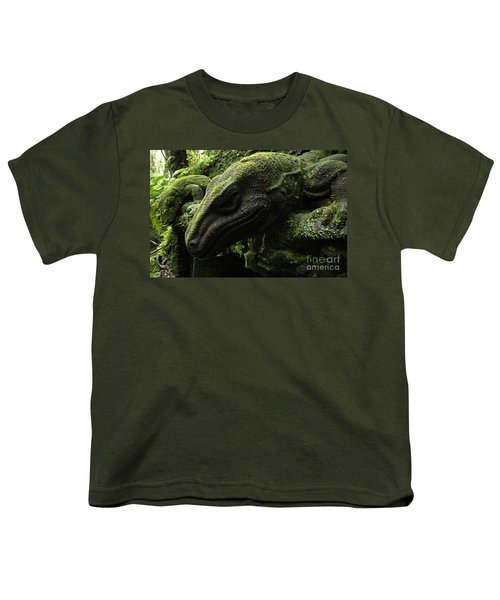 Bali Indonesia Lizard Sculpture Youth T-Shirt by Bob Christopher
