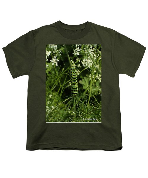 Youth T-Shirt featuring the painting Black Swallowtail Butteryfly Caterpillar by Chholing Taha