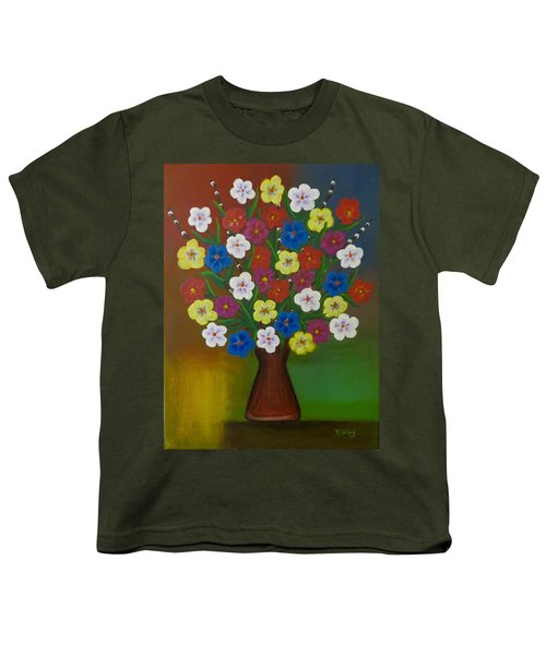 Brilliant Bouquet Youth T-Shirt by Teresa Wing