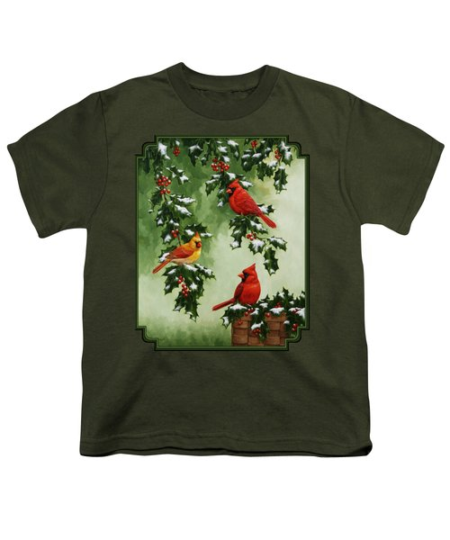 Cardinals And Holly - Version With Snow Youth T-Shirt