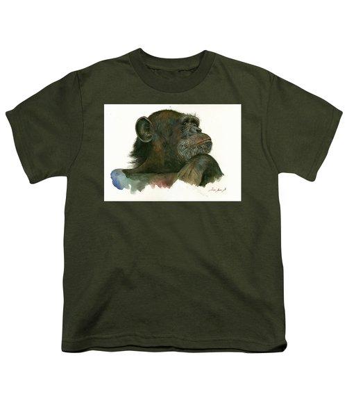 Chimp Portrait Youth T-Shirt by Juan Bosco