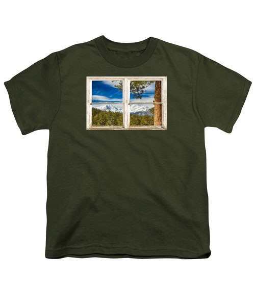 Colorado Rocky Mountain Rustic Window View Youth T-Shirt