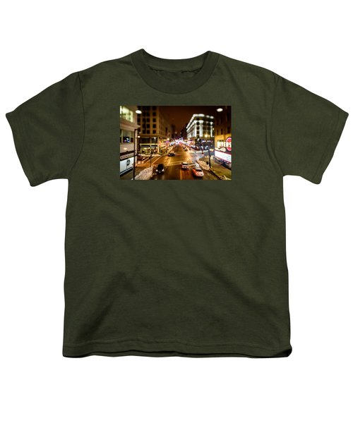 Downtown In The Itty-bitty City Youth T-Shirt by Randy Scherkenbach