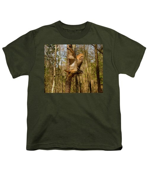 Eurasian Eagle Owl In Flight Youth T-Shirt