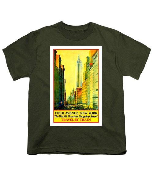 Fifth Avenue New York Travel By Train 1932 Frederick Mizen Youth T-Shirt by Peter Gumaer Ogden Collection