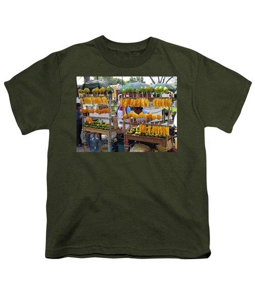 Fruit Stand Antigua  Guatemala Youth T-Shirt by Kurt Van Wagner