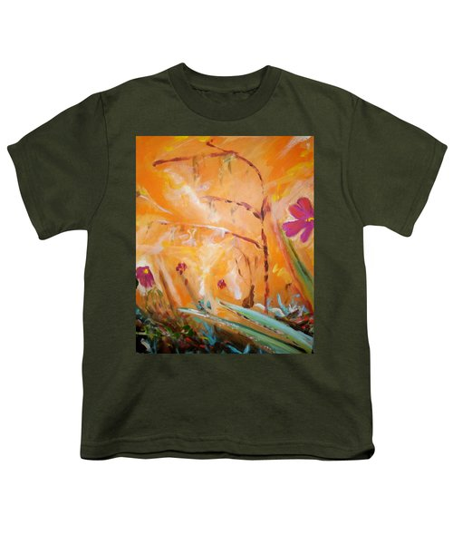 Youth T-Shirt featuring the painting Garden Moment by Winsome Gunning