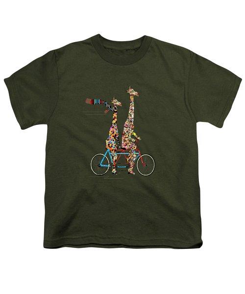 Giraffe Days Lets Tandem Youth T-Shirt by Bri B