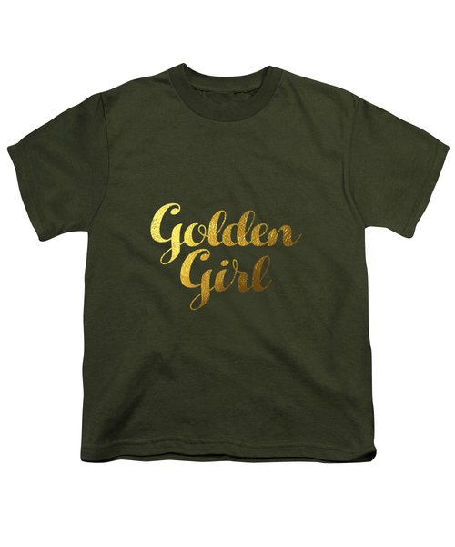 Golden Girl Typography Youth T-Shirt by BONB Creative