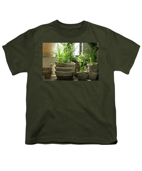 Green Plants In Old Clay Pots Youth T-Shirt