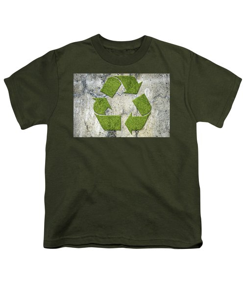 Green Recycling Sign On A Concrete Wall Youth T-Shirt by GoodMood Art