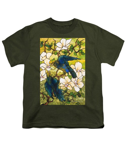 Hibiscus And Parrots Youth T-Shirt by Louis Comfort Tiffany