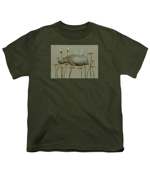 Hippo Underwater Youth T-Shirt by Juan  Bosco