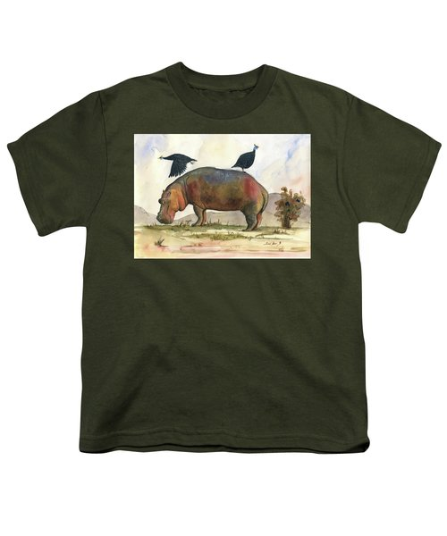 Hippo With Guineafowls Youth T-Shirt