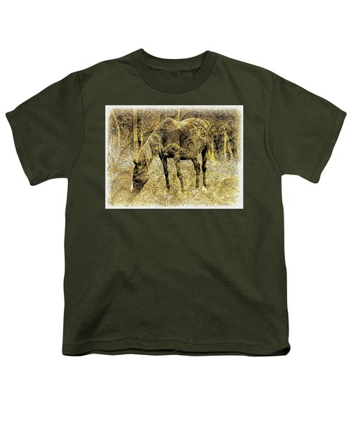 Horse Grazing On Pasture 2 Youth T-Shirt