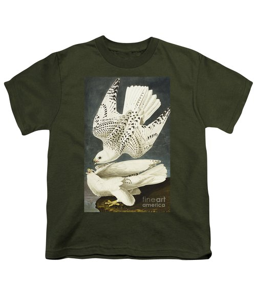 Iceland Or Jer Falcon Youth T-Shirt by John James Audubon