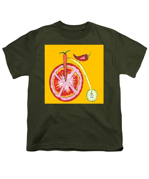 Kitchen Vegetable Art Youth T-Shirt by Kathleen Sartoris