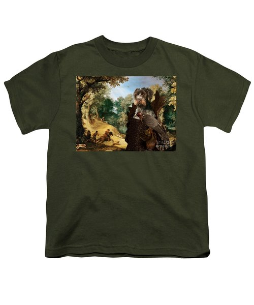 Korthals Pointing Griffon Art Canvas Print - The Hunters And Lady Falconer Youth T-Shirt