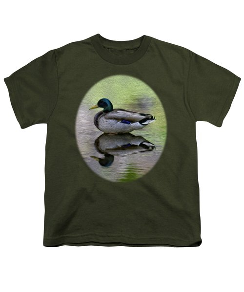 Youth T-Shirt featuring the photograph Mallard In Mountain Water by Mark Myhaver
